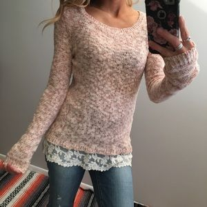 Hippie Rose Sweaters - HIPPIE ROSE // LONG SLEEVE SWEATER W LACE BOTTOM